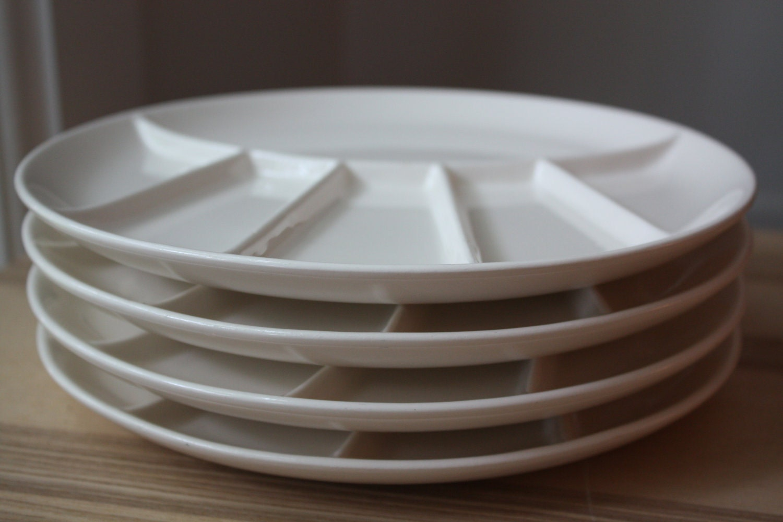 Vintage White Ceramic Fondue Plates