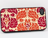 Orange Floral iPhone Case, Vintage Art Nouveau Style Orange and Red, iPhone 4 5 6 Case, Plastic iPhone Cover, Retro Flowers, Cell Phone Case