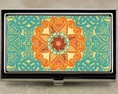 Business Card Case, Credit Card Case with Teal and Orange Renaissance or Celtic Medallion Design, Handmade Card Holder