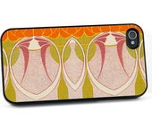 iPhone 4 5 Case, Art Nouveau Design in Mauve and Green, Plastic iPhone Cover, Vintage Style, Device Cover for men or women