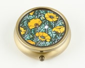 Pill Box, Ring Box, Trinket Box - Golden Yellow Poppies, Bronze Tone