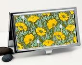 Floral Business Card Case, Credit Card Case - Art Nouveau Golden Orange Poppy Design, Handmade Card Holder or Metal Wallet