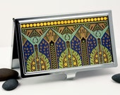 Art Deco Business Card Case in Deep Sapphire Blue and Green, Retro Credit Card Case, Card Holder, Handmade metal wallet