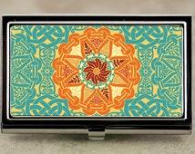 Business Card Case, Credit Card Case with Teal and Orange Renaissance or Celtic Medallion Design, Handmade Card Holder