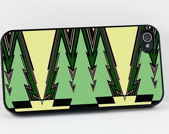 Art Deco iPhone Case, Green Abstract Trees or Triangles, Geometric Retro iPhone 4 5 6 case, Vintage iPhone Cover, Retro Plastic iPhone Case