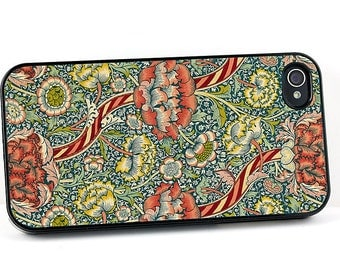 Decorative Floral iPhone Case, iPhone 4 5 6 case,  William Morris Wandle Design, Red Flowers, Vintage Victorian iPhone cover, Plastic iPhone