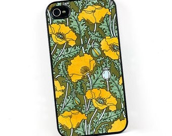 Floral Poppy iPhone case, Art Nouveau Yellow Gold Poppies, iPhone 4 5 6 cover, Plastic iPhone case, Retro Vintage style iPhone Cover