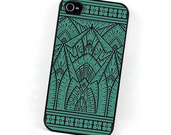 Geometric iPhone Case, Art Deco Teal and Black iPhone 4 5 6 Case, Plastic iPhone Cover, iPhone Gear, Retro iPhone Accessory