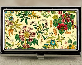 Business Card Case, Credit Card Case with Victorian Flower Garden Design in Sunny Yellow, Handmade Card Holder or Metal Wallet