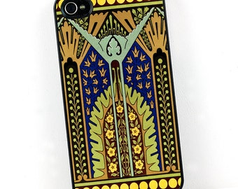 Art Deco iPhone Case, iPhone 4 5 6 cover Cobalt Blue, Gold, and Green, Egyptian Revival Style iPhone Case, Plastic Cell Phone case