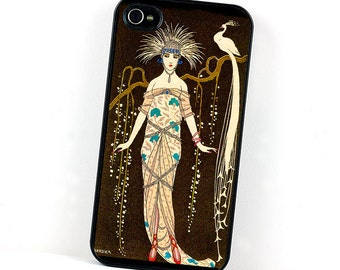 Art Deco iPhone Case, iPhone 4 5 6, Erte Style Peacock , Retro inspired plastic  iPhone case, Vintage cell phone case