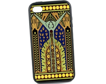 Art Deco iPhone 5 Case, Geometric iPhone 6 case, iPhone 5C Case,  Rubber iPhone 6 Plus Case Retro iPhone, Cobalt Blue Gold, iPhone 7 Case