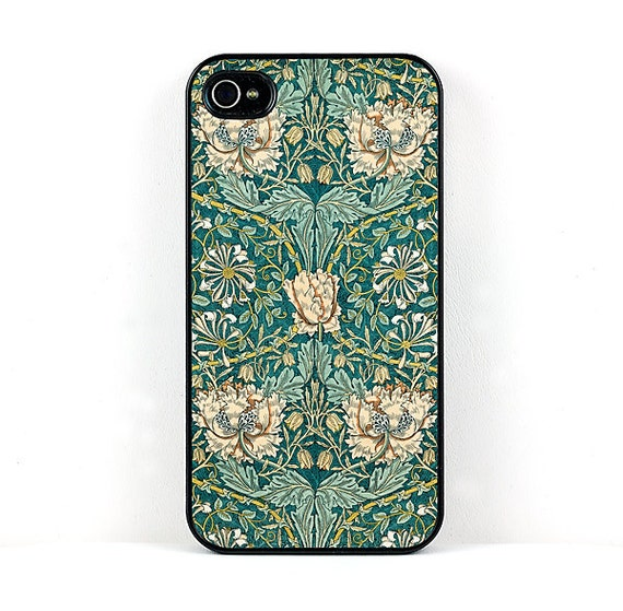 Honeysuckle Floral iPhone Case, William Morris Vintage Flower Design, Plastic iPhone 4 5 6  Cover, retro cell phone case, Arts and Crafts