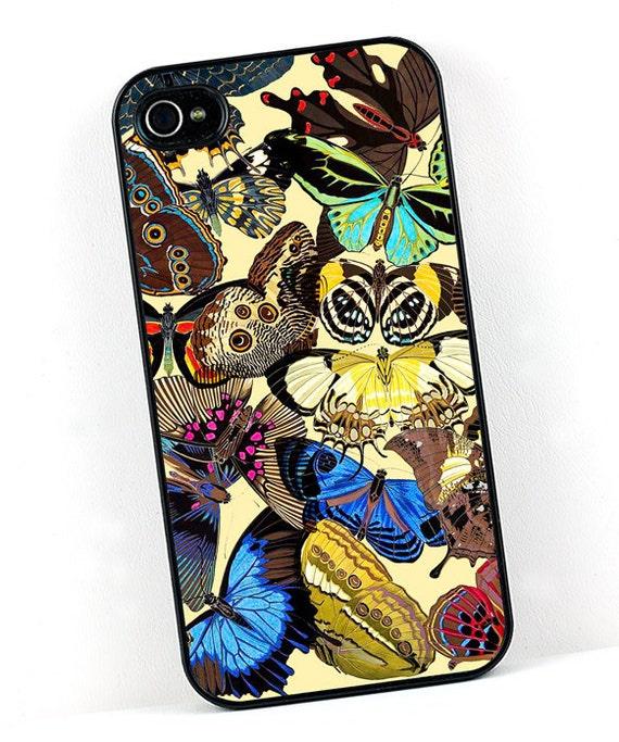 Vintage iPhone Case, Art Deco Butterflies, Colorful Retro iPhone 4 5 6 Case, iPhone Cover, Plastic iPhone Case