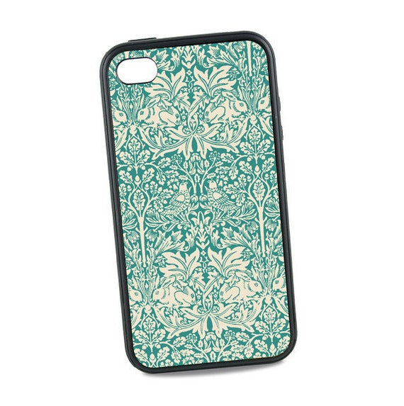 Vintage iPhone 5 Case,  Rubber iPhone 6 Case, William Morris Brother Rabbit Design, Bunny, Teal iPhone 6 Plus, iPhone 7 Case