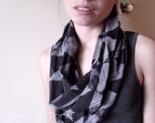 CLEARANCE Hand Printed 'Tringle' Infinity Cowl in Black on Gray
