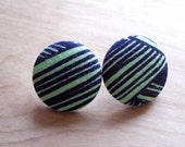 Mint and Navy Earrings, Large - Handprinted
