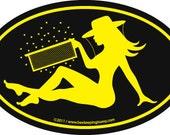 "Yellow-on-black ""BEEKEEPER GIRL"" oval bumper sticker"