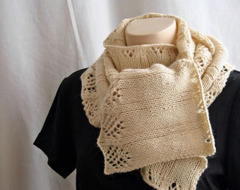 Knitting Pattern Scarf, Early Fall Scarf , Lace Offwhite Ecru Alpaca