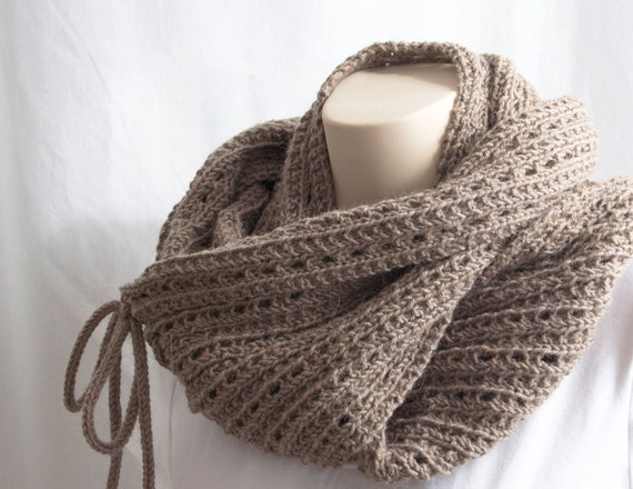 Knitted Infinity Cowl Pattern : Knitting Pattern Scarf, Infinity Cowl, Mokaccino, Brown ...