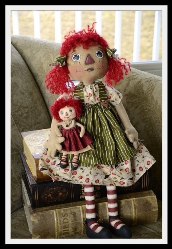 Primitive Raggedy Annie And her OOAK Dolly, OFG TEam 20% off