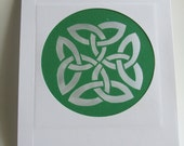 Eternity Circular Celtic Knot Silhouette Cutout in White & Green Original Handmade Cut Out OOAK