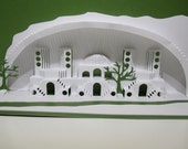 Mediterranean Landscape 3D Pop up Card ORIGINAL DESIGN of Origamic Architecture Technique Home Decoration in White and Green OoAK SIGNED
