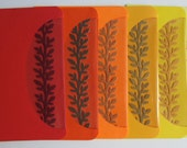 RESERVED for TERESA - Greeting Cards, Handmade with a Silhouette Cutout Insert of a Branch in 6 Shades of Warm Colors OOA