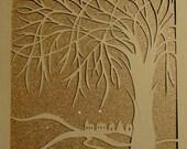 Art Decorations Home Décor Tree Of Life Silhouette Cutout, Original Design, Elegant Wall Art, Handcut Handmade, Framed, Signed OOAK