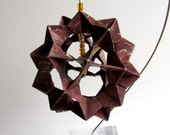Ornament Home Décor 3D Modular Origami HANDMADE Of Burgundy Paper with Gold Embossed Design Displayed on an Ornament Stand OOAK