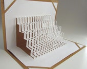 GRADUATION Steps to SUCCESS Pop Up 3D Card Home Décor Handmade Origamic Architecture in White and Bright Shimmery Metallic Gold