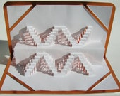FATHER'S DAY Gift Pop up Geometric Symmetry ORIGINAL Design Origamic Architecture of 3D Handmade in White and Metallic Shimmery Copper. OOaK