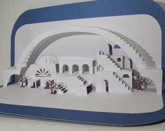 MEDITERRANEAN 3D Pop Up Scenery of  a VILLAGe under a Bridge in White and Blue ORIGINAL Origamic Architecture Model Home Décor. OOaK