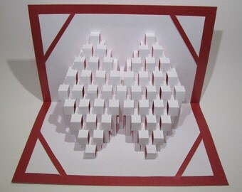POP UP 3D CARD With Geometric Design of Stairs To Success Origamic Architecture in White and Red with Transparency For Shine Through Light
