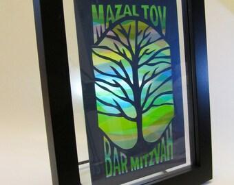 Mazel Tov, Mazal Tov Bar Mitzvah Framed Handmade Original Silhouette Cutout Design of Tree Of Life with Blue and Green Shades OOAK