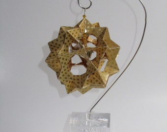 Ornament Home Décor 3D Modular Origami Made Of Mustard Yellow Washi Paper With Gold Dots on an Ornament Stand OOAK