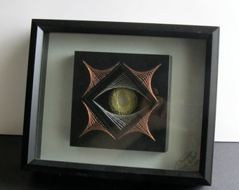 STRING ART Home Décor Abstract EYE Wall Art Handmade Original Design with a Harmony of Metallic Threads in Gold, Silver and Copper OOaK