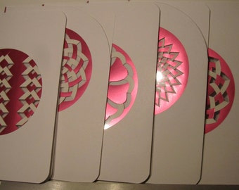 5 Greeting Cards With Intricate HANDMADE Paper Cuts in Metallic Shimmery Pink Paper Cut Outs Set Between Transparencies