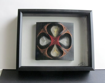 String Art Home Décor Geometric Design Wall Art Handmade Original with Harmony of Metallic Gold Silver Copper Red One Of A Kind