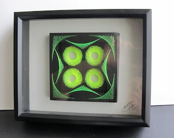St.PATRICK'S Gift Wall Art Home Décor Geometric String Art Original Handmade Design with Neon Fluorescent Green Threads One Of A Kind