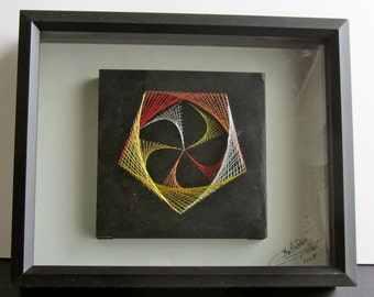 CHRISTMAS GIFT String Art Home Décor Wall Art Handmade Original Geometric Design with Harmony of Metallic Gold Silver Copper Red OOAK