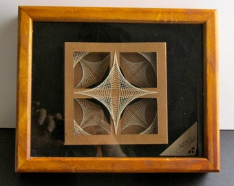 STRING ART GEOMETRIC Abstract Home Décor Wall Art Original Design For Him/Her Handmade In Earth Tones of Light Brown and Beige One Of A Kind