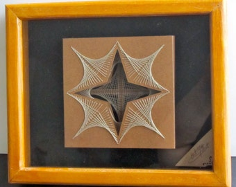 WEDDING GIFT Home Décor Wall Art of String Art Abstract Geometric Original Design Handmade In Earth Tones of Light Brown and Beige