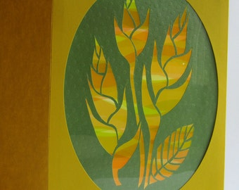 GREETING Card Bird of Paradise SILHOUETTE Cutout Original Design Home Décor Handmade Cut Out in Bright Yellow and Green One Of A Kind