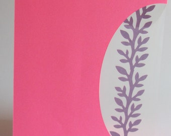 FIGHT CANCER 2 x Cards or Event Invitations Handmade with a Silhouette Cutout Insert of a Branch w/Leaves in Pink Shades OOAK