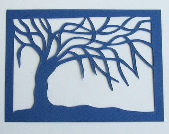 ACEO Tree Of Life Navy Blue Silhouette Cutout Original Design Elegant Handcut Floating in a Frame and Turned Into Wall Art OOAK Signed