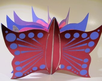 Pop Up Butterfly Book Card Original Artistic Handmade in Hot Pink and Purple Custom Made To Order Personalized For Special Occasions OOAK