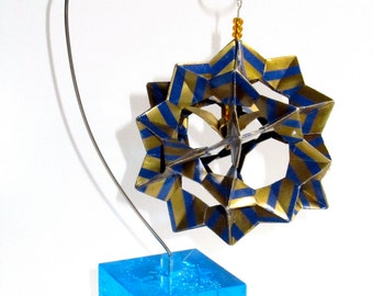Ornament Home Décor 3D Modular Origami Made Of Gold With Blue Stripes Washi Paper Displayed on an Ornament Stand OOAK