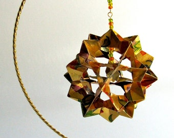 Ornament Decoration Home Décor 3D Modular Origami Handmade in Metallic Gold, Red & Green on Ornament Stand One Of A Kind OOAK