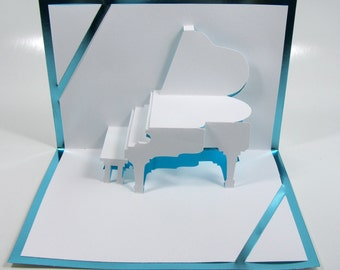 GRAND PIANO 3D Pop Up CARD Origamic Architecture Home Decoration Handmade Handcut in White and Bright Shimmery Light Blue One Of A Kind